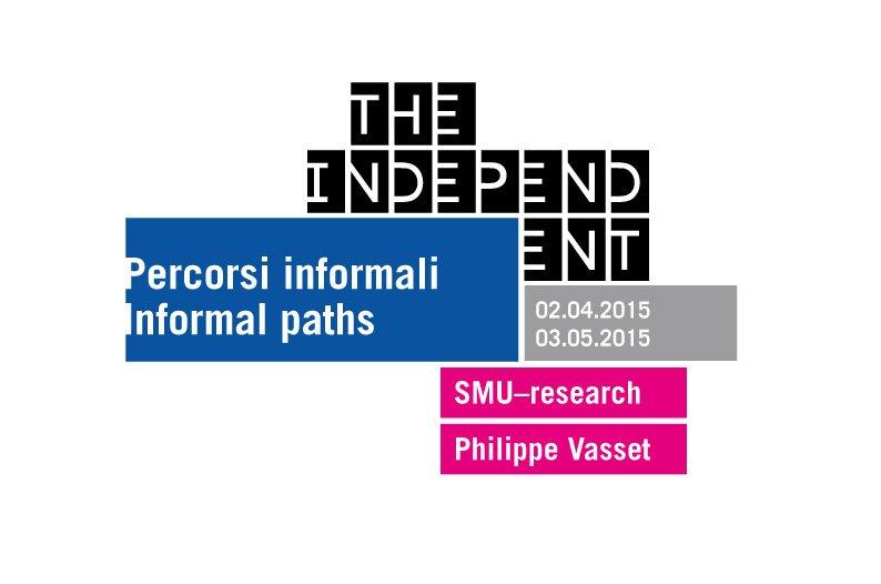 Identità della mostra Percorsi informali/Informal path integrata con il logo The Independent